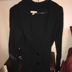 Long black knit button up sweater